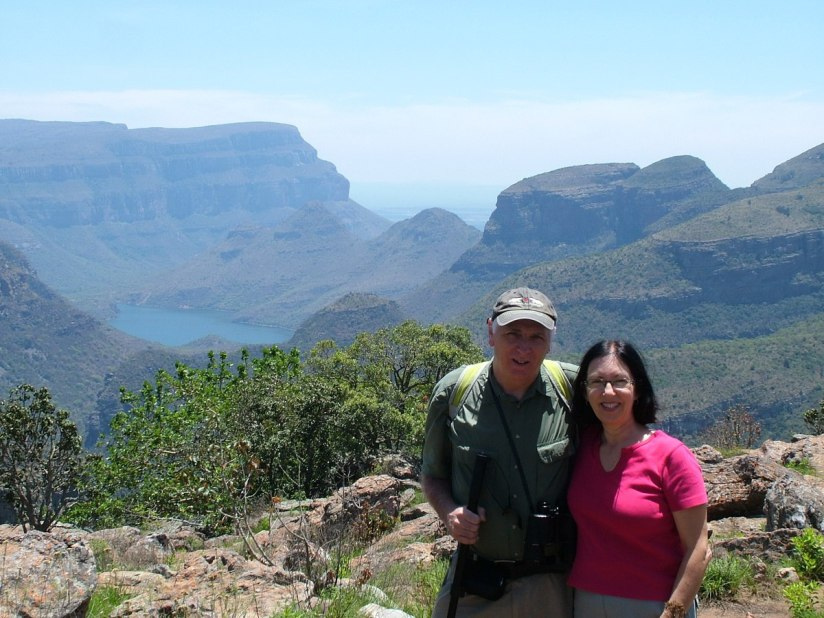 Jean and Bob at Blyde River Canyon lookout in South Africa