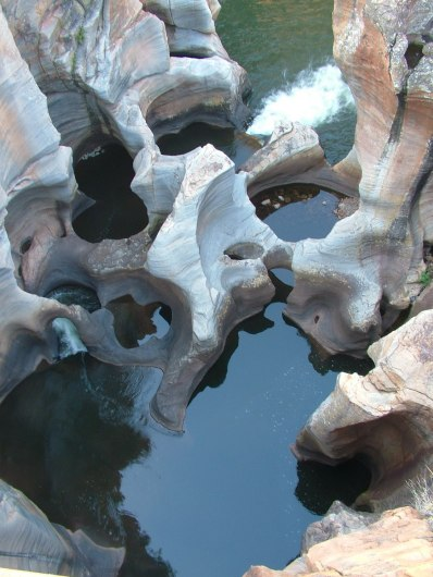 Giant kettles and rock walls at Bourkes Luck Potholes in South Africa