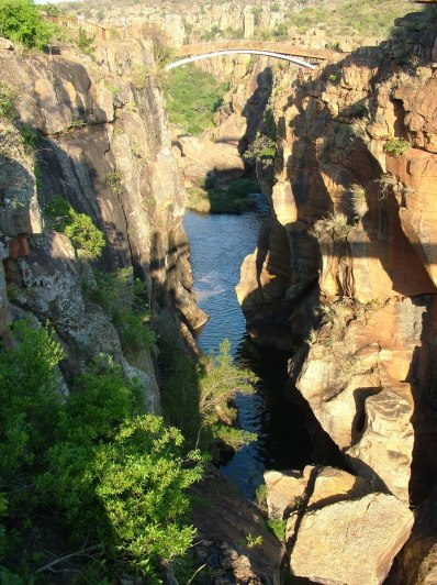 Pedestrian bridge over gorge at Bourkes Luck Potholes in Moremela, South Africa