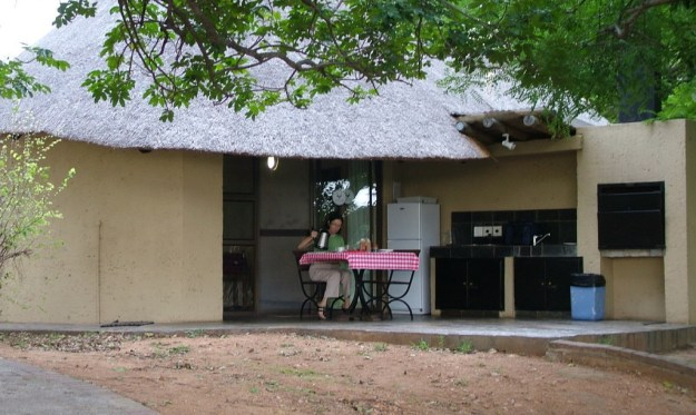An image of a riverside bungalow at Skukuza Rest Camp in Kruger National Park in South Africa.