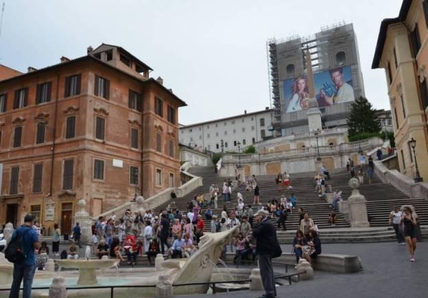 Fontana della Barcaccia below the Spanish Steps in Rome, Italy