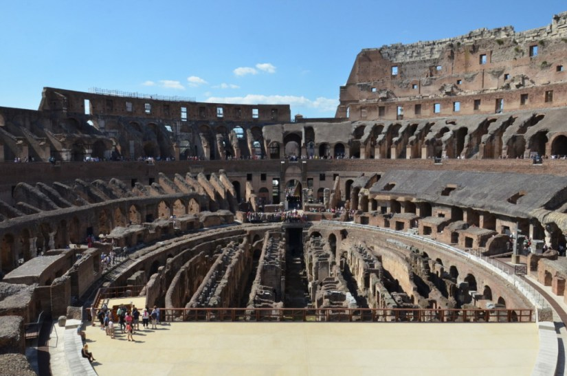 Interior of the Roman Colosseum, Rome, Italy