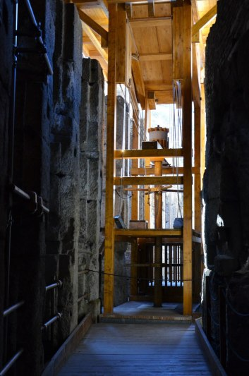 Restored wooden elevator in the basement of the Roman Colosseum, Rome, Italy