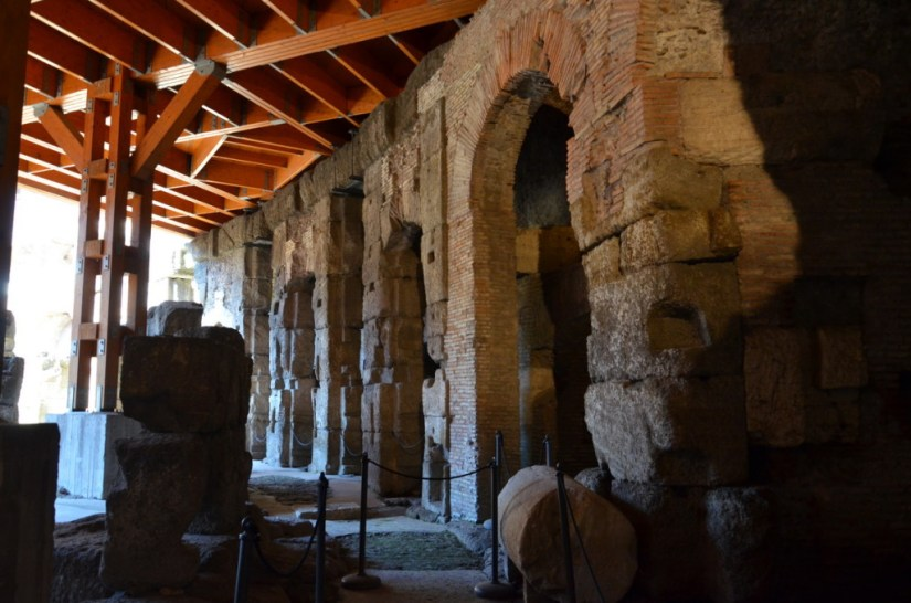 An image of the restored wooden floor and brick walls in the basement of the Roman Colosseum, Rome, Italy. Photography by Frame To Frame - Bob and Jean.