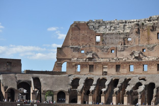 Interior of the Roman Colosseum in Rome, Italy