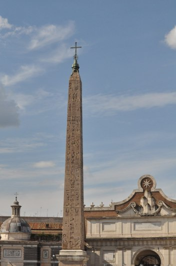 The Egyptian Obelisk of Sety in Piazza del popola square in Rome, Italy