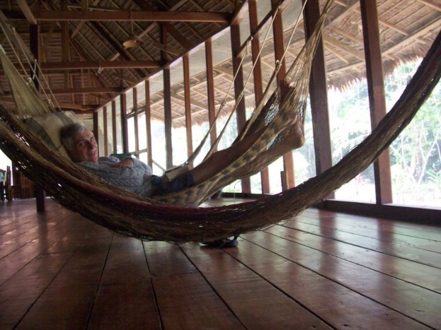 Time out in a hammocks at Sandoval Lake Lodge, Lake Sandoval, Amazon Delta, Peru