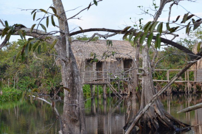 Photo of huts on stilts at Cabeza de Vaca in the mangrove swamp near San Blas, Mexico
