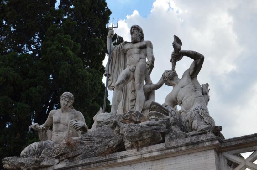 The Fountain of Neptune in Piazza del Popola square in Rome, Italy