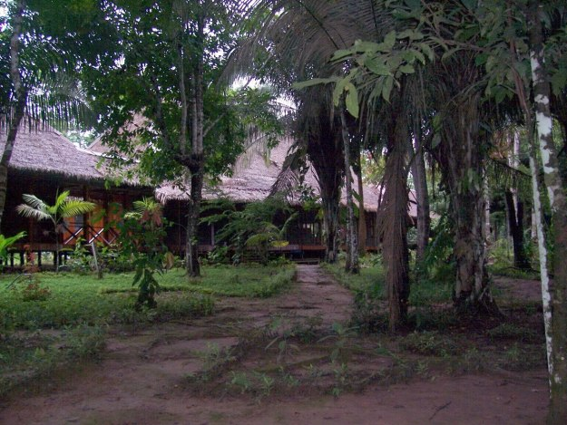 Main building at Sandoval Lake Lodge, Lake Sandoval, Amazon Basin, Peru