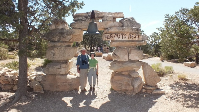 Jean and Bob at Hermits Rest on the south rim at grand canyon national park