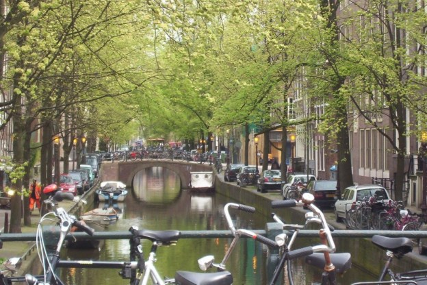 bikes on a bridge in amsterdam, the netherlands