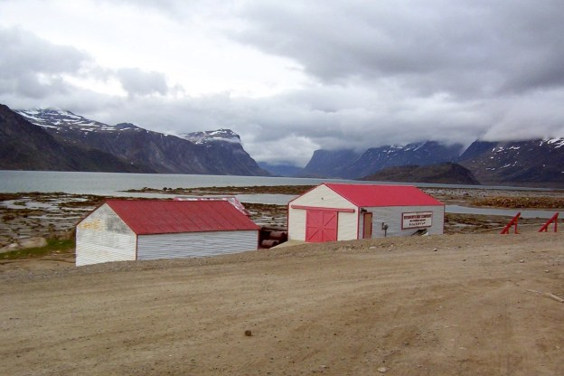 photograph of the former hudson's bay company blubber station buildings in Pangnirtung on Baffin Island in Nunavut, Canada