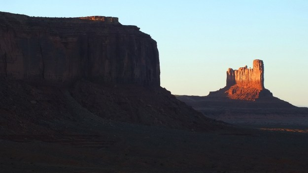 Castle Butte and Stagecoach Butte in Monument Valley in Arizona, USA