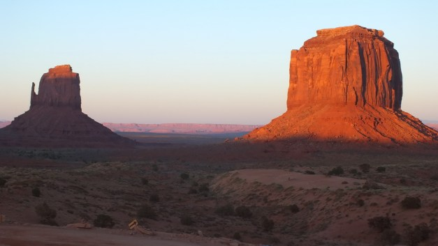 East Mitten and Merrick Butte in Monument Valley in Navajo County, Arizona, USA