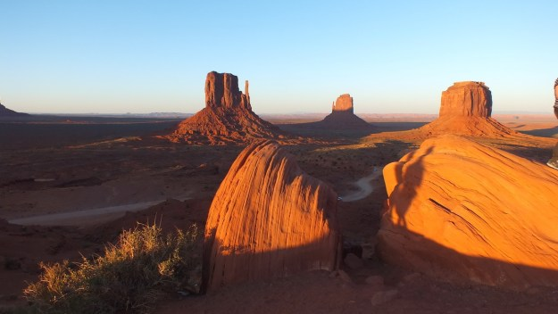 Monument Valley at sunset in northern Arizona, USA