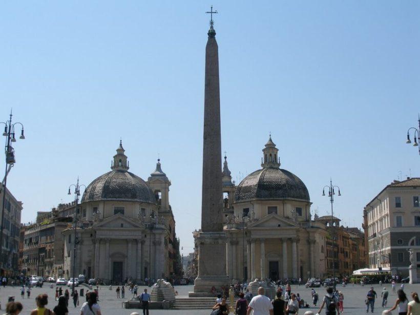 Popolo Obelisk in Piazza del Popolo in Rome, Italy
