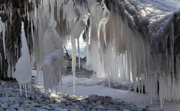 ice coated shoreline and trees, lake ontario, ontario, canada, 8