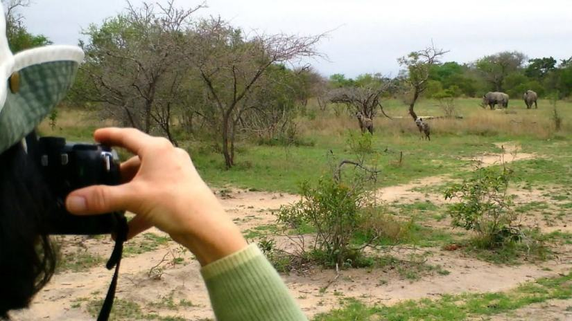 jean takes picture during armed safari, kruger national park, south africa,