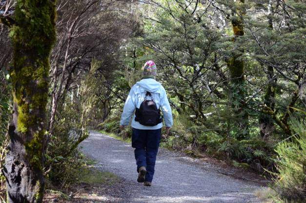 An image of Jean hiking on the Tawhai Falls hiking trail in Tongariro National Park in New Zealand. Photography by Frame To Frame - Bob and Jean.