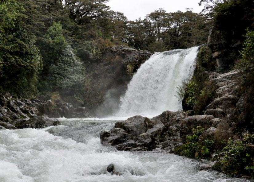 An image of water flowing over Tawhai Falls in Tongariro National Park in New Zealand. Photography by Frame To Frame - Bob and Jean.