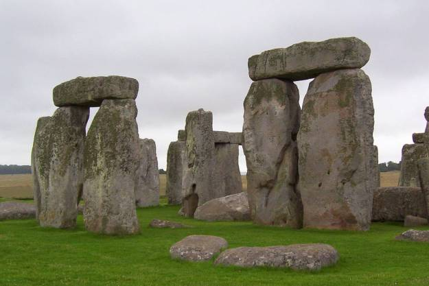 An image of the lintel stones sitting on the top of the stone pillars at Stonehenge in Wiltshire, England.  Photography by Frame To Frame - Bob and Jean