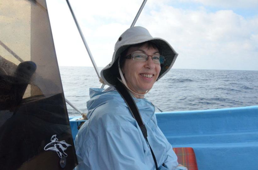 An image of Jean aboard a boat heading to Isla Isabel off San Blas, Mexico. Photography by Frame To Frame - Bob and Jean