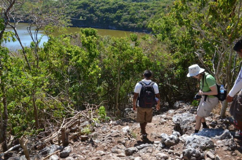 An image of Jean and the birding guides hiking down to a lake on Isla Isabel in Mexico. Photography by Frame To Frame - Bob and Jean.