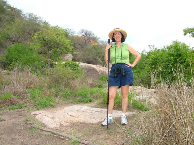 An image of Jean hiking at Kruger National Park, South Africa. Photography by Frame To Frame - Bob and Jean.