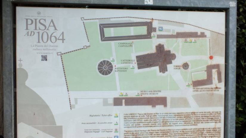 An image of a map of the buildings around the Leaning Tower of Pisa in Pisa, Italy. Photography by Frame To Frame - Bob and Jean