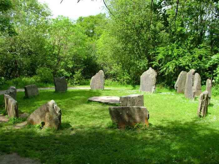 a Stone Circle at Irish National Heritage Park in Ireland