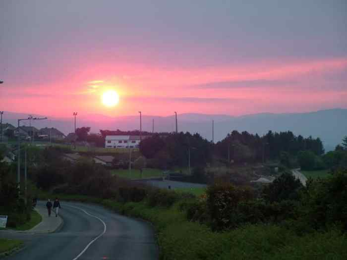 red sunset near Wicklow, Ireland