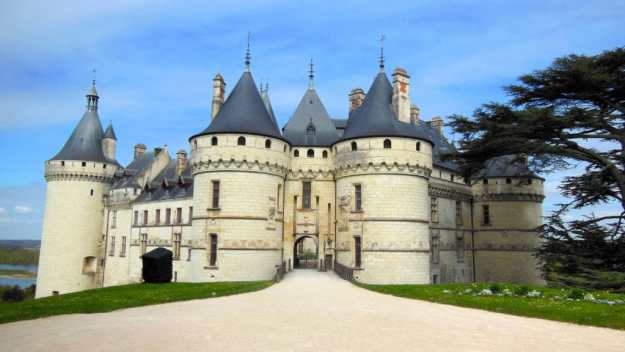 An image of the main entrance to Chateau Chaumont sur Loire in Loire Valley in France.