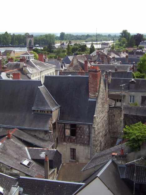 An image of the town of Langeais from Chateau de Langeais in the Loire Valley in France.