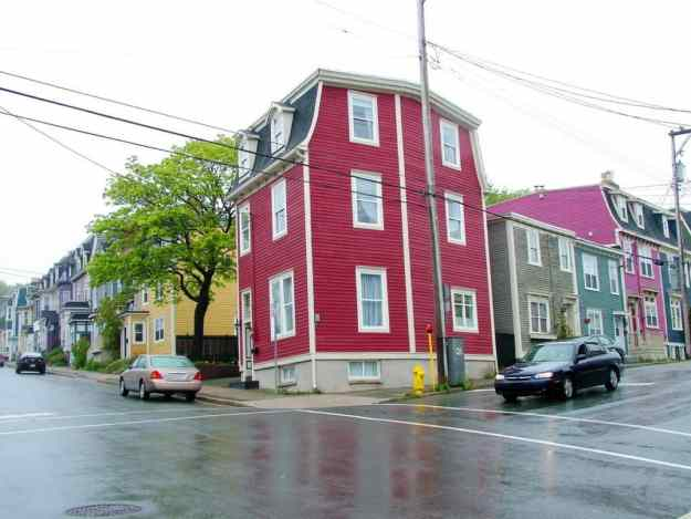 an image of colourful homes at a corner in St. John's, Newfoundland, Canada