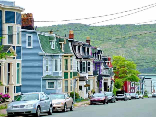 an image of pastel-painted homes in St. John's, Newfoundland, Canada