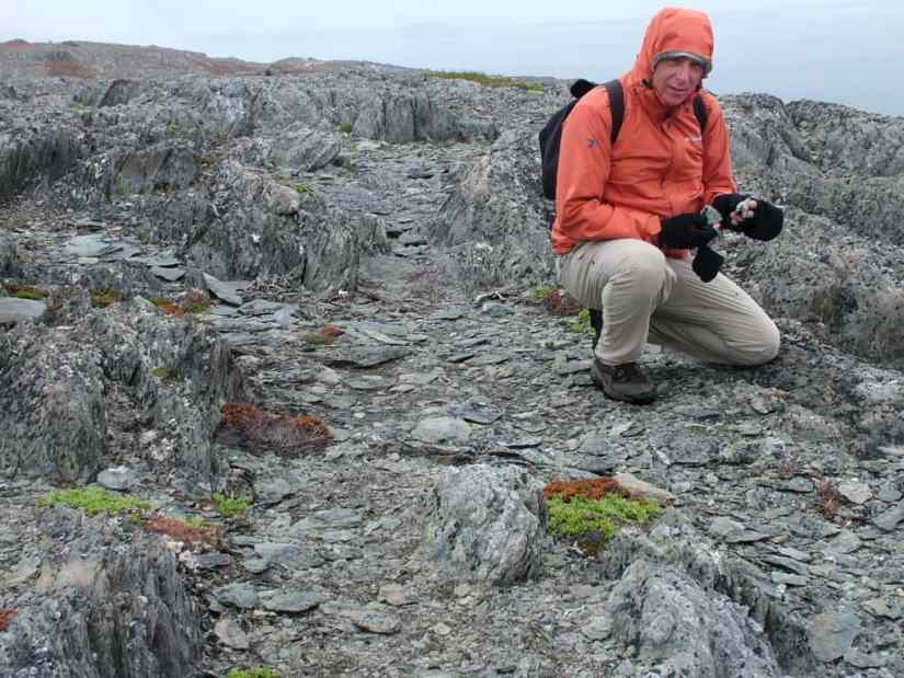 bob hiking on quirpon island, newfoundland, canada