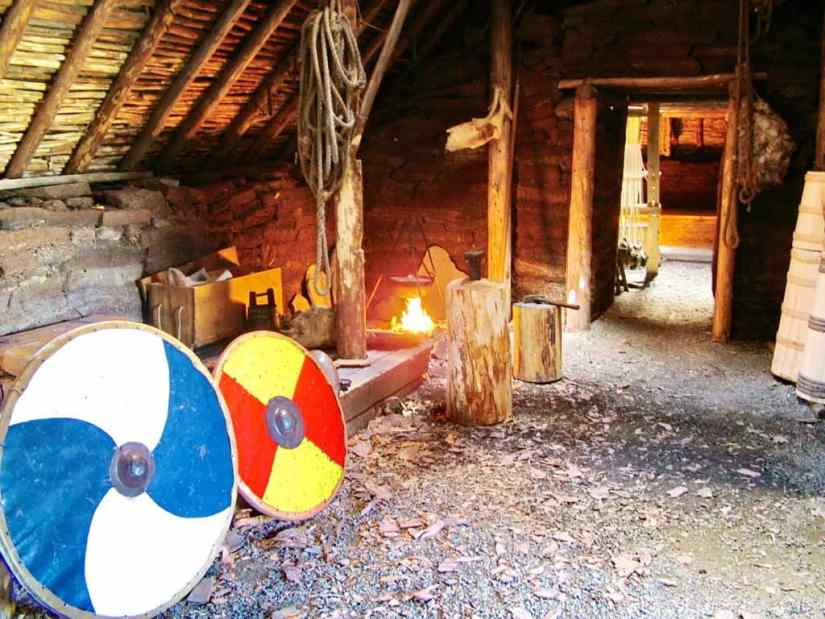 longhouse interior at l'anse aux meadows, newfoundland, canada
