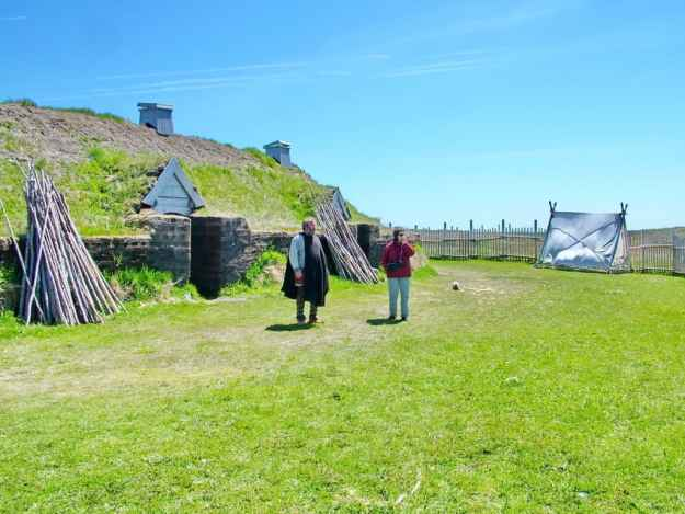 a historical interpreter with jean at l'anse aux meadows, newfoundland, canada