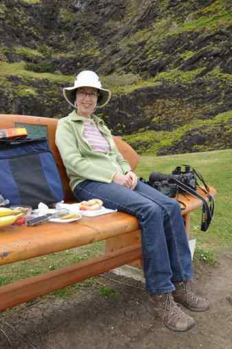 An image of Jean sitting on a park bench at Muriwai Regional Park in New Zealand.