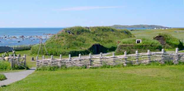 An image of the Viking settlement re-created at l'anse aux Meadows in Newfoundland, Canada.