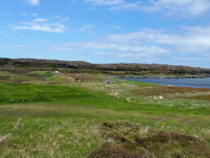 earth mounds at l'anse aux meadows, newfoundland, canada