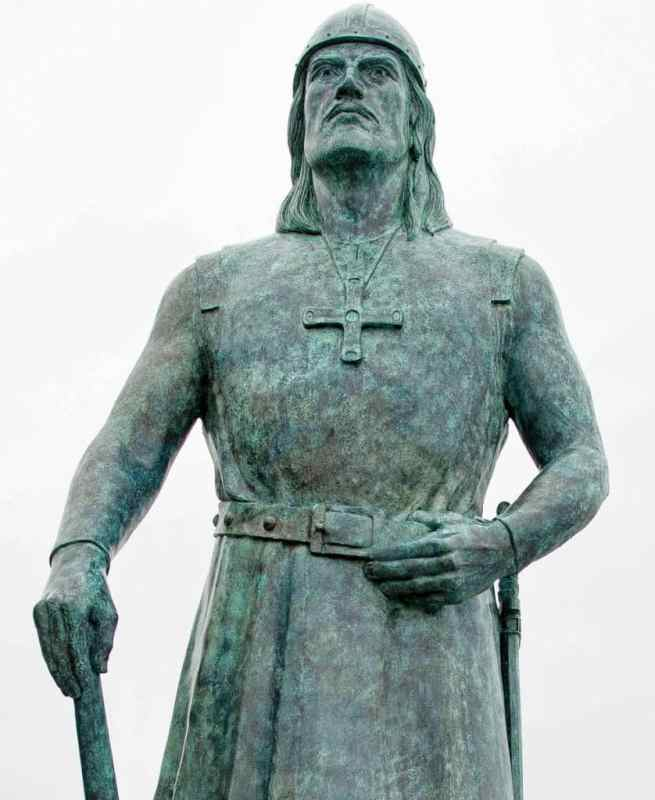 a statue of Leif Erickson at l'anse aux meadows unesco world heritage site, newfoundland, canada