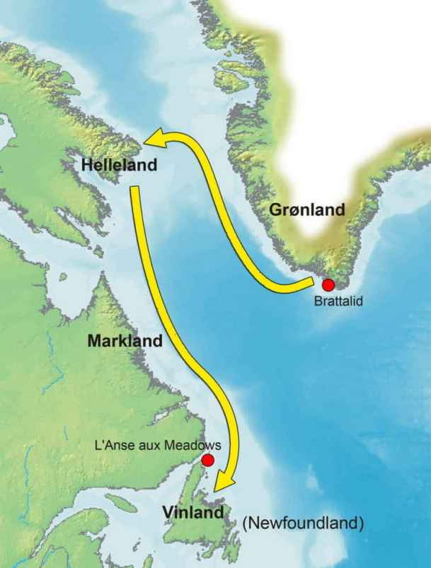 a map showing the Norse route to Newfoundland, Canada
