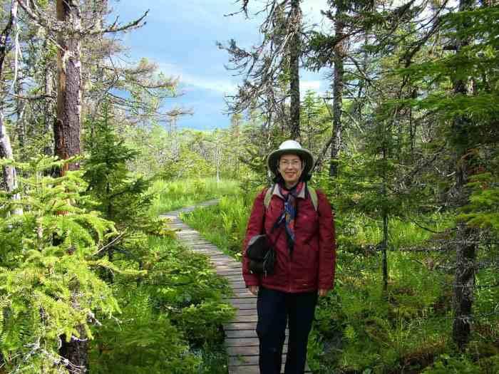 jean along baker's brook falls hiking trail in gros morne national park, newfoundland