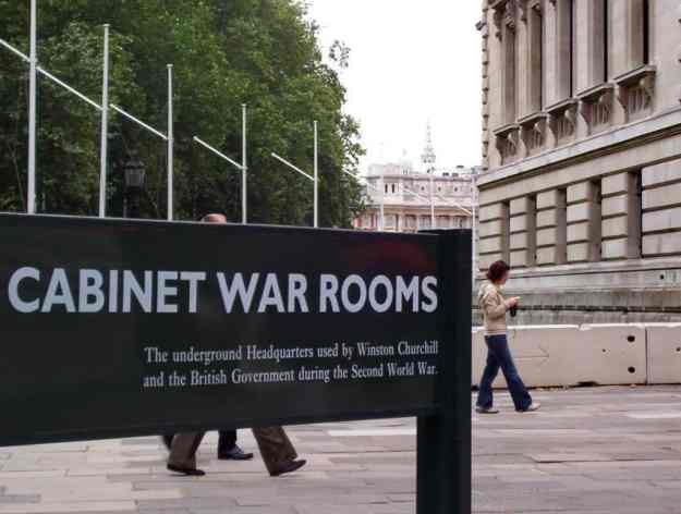An image of the Cabinet War Rooms entrance sign in London, England.