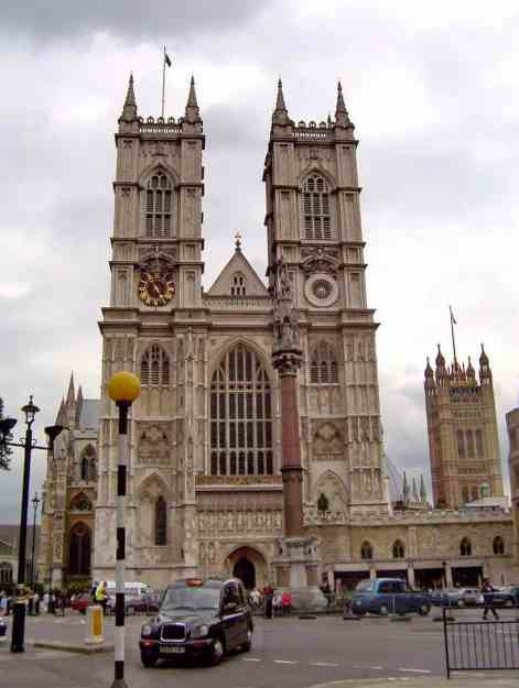 An image of Westminster Abbey in London, England.