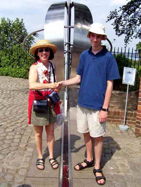 An image of the Prime Meridian Line at the Royal Observatory in Greenwich, London, England.