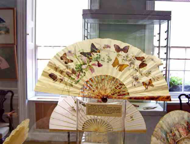 An image of a fan with butterflies at the Fan Museum at the Greenwich Village World Heritage Site in England.