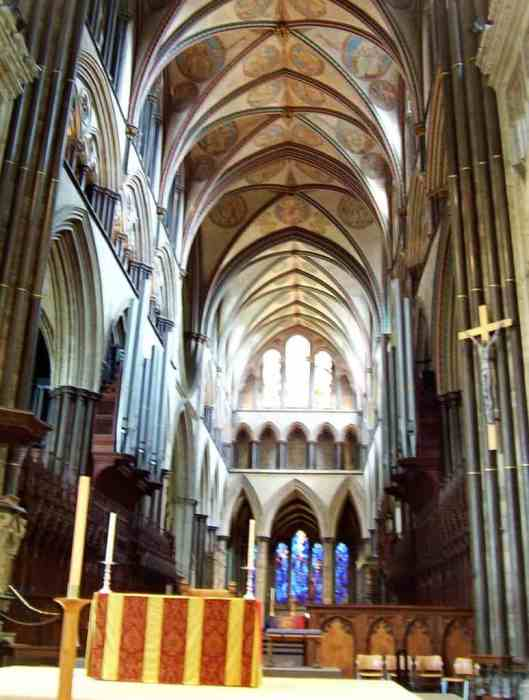An image of the nave at Salisbury Cathedral in England.